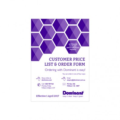 Customer Price List & Order Form